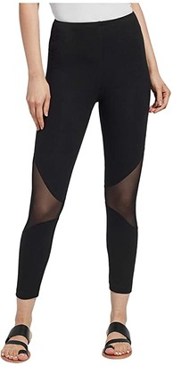 Lysse Alder Crop Leggings with Mesh Cutouts (Black) Women's Casual Pants