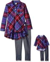 Dollie & Me Big Girls' Plaid Ruffle Tunic with Knit Denim Legging
