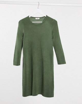 JDY Friends 3/4 sleeve knitted jumper dress in dark green