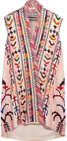 Chloé Embroidered Striped Linen And Silk-blend Tunic - Pink