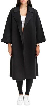 Belle & Bloom Stay Wild Black Oversized Wool Coat