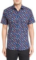 Jared Lang Men's Trim Fit Skull Print Sport Shirt