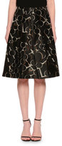Piazza Sempione Mid-Rise Printed Full Skirt, Black