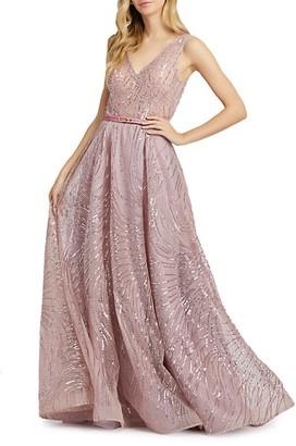 Mac Duggal Swirl Sequin Gown