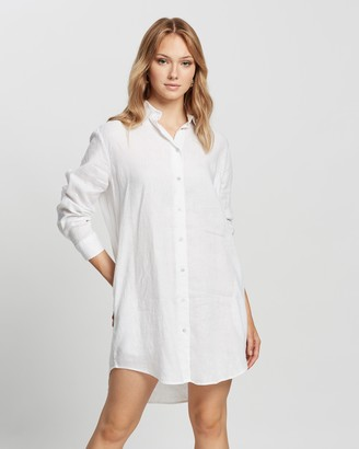 Assembly Label - Women's White Long Sleeve Dresses - Linen Shirt Dress - Size 6 at The Iconic