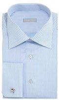 Stefano Ricci Striped French-Cuff Solid Dress Shirt, Light Blue