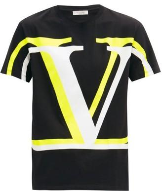 Valentino Logo-print Cotton-jersey T-shirt - Black Yellow