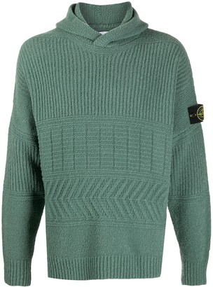 Stone Island Ribbed-Knit Logo Patch Hoodie