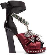No.21 No. 21 - Crystal-embellished Satin, Grosgrain And Patent-leather Sandals - Burgundy