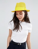 Liquorish Straw Trilby Hat With Ribbon