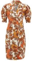 Dodo Bar Or Tata Floral-print Cotton-poplin Wrap Dress - Womens - Brown Print