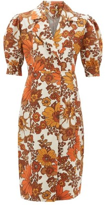 Dodo Bar Or Tata Floral-print Cotton-poplin Wrap Dress - Brown Print