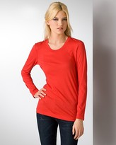Sheer Cotton Long Sleeved Crewneck Tee