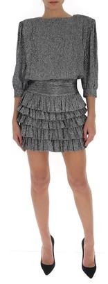 Saint Laurent Ruffle Tiered Mini Dress