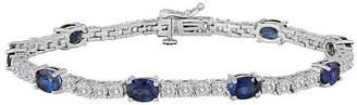 FINE JEWELRY Lab Created Blue Sapphire Pure Silver Over Brass Tennis Bracelet