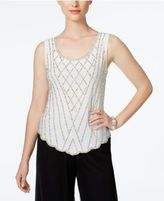 MSK Beaded Scalloped-Front Top
