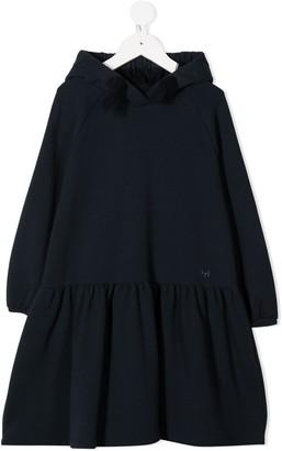 Il Gufo Hooded Long-Sleeved Dress