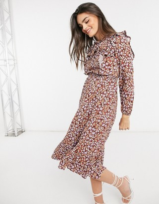 Stradivarius floral midi dress with neck tie in brown