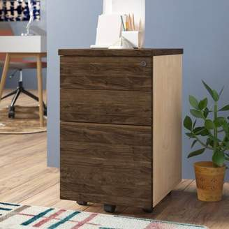Holmes Comm Office 3 Drawer Mobile Vertical Filing Cabinet Comm Office Color: Walnut Brown