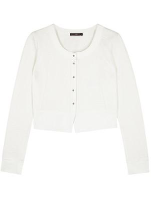 High Imagine White Stretch-knit Cardigan