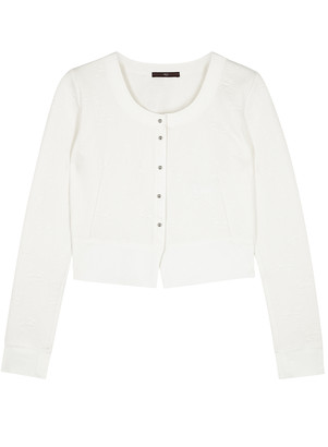 High Imagine white stretch-knit cardigan