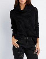 Charlotte Russe Shaker Stitch Cowl Neck Sweater