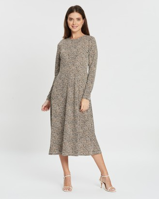 Banana Republic Petite Petite LS Crew Knit Print Dress