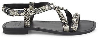 Marc Fisher Studded Snake-Print Leather Sandals