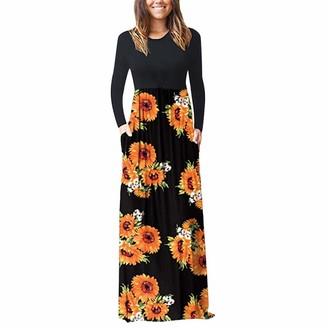 Ihaza Dress iHAZA Women's Casual O-Neck Floral Print Maxi Tank Long Dress Party 1920s Vintage Dresses Orange