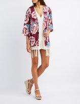 Charlotte Russe Floral Fringe-Hem Kimono