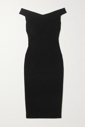 Roland Mouret Amarula Off-the-shoulder Wool-crepe Dress - Black