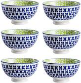 Torre & Tagus Kiri Pansy Porcelain Small Bowls (Set of 6)