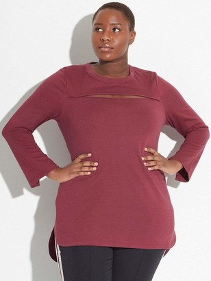 See Rose Go Peek-A-Boo Tunic in Burgundy Top Size 1 Polyester