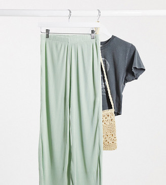 ASOS DESIGN Petite plisse culotte pants in sage