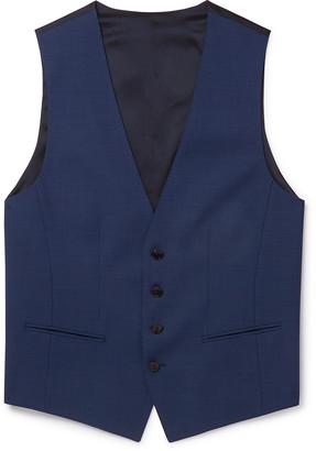 HUGO BOSS Slim-Fit Micro-Checked Wool Waistcoat