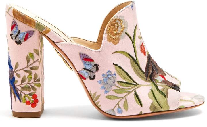 Aquazzura for de Gournay embroidered mules 115