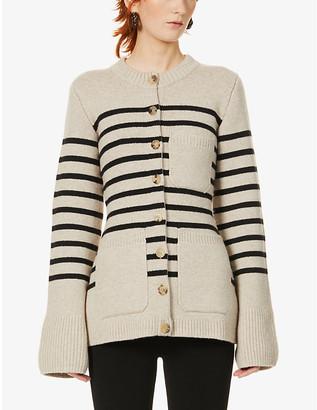 KHAITE Suzette striped cashmere-blend cardigan