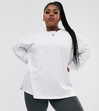 Asos DESIGN Curve super oversized lightweight sweat with side splits in white