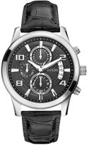 GUESS Black and Silver-Tone Masculine Retro Chronograph Watch