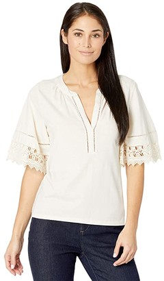 Lauren Ralph Lauren Petite Lace Trim Cotton Jersey Top (Mascarpone Cream) Women's Clothing