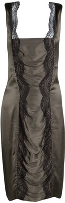Roberto Cavalli Grey Scallop Lace Panel Detail Satin Ruched Sleeveless Dress M
