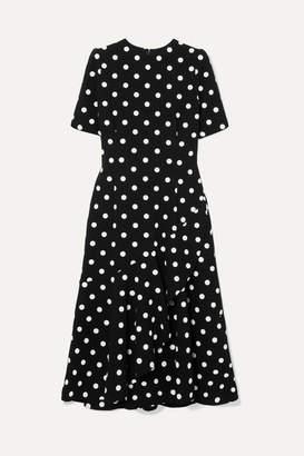 Oscar de la Renta Polka-dot Wool-blend Crepe Midi Dress - Black