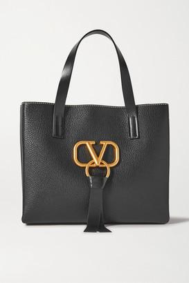 Valentino Garavani Vring Small Textured-leather Tote - Black
