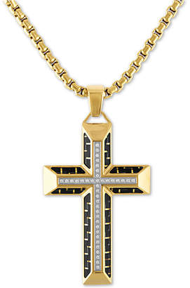 "Esquire Men Jewelry Diamond Cross 22"" Pendant Necklace in Gold Tone Ion-Plated Stainless Steel & Black Carbon Fiber"