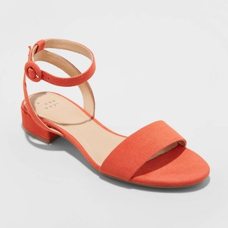 A New Day Women's Winona Microsuede Ankle Strap Sandals Coral