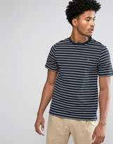Farah Kimmeridge Slim Fit Fine Stripe Tshirt Navy