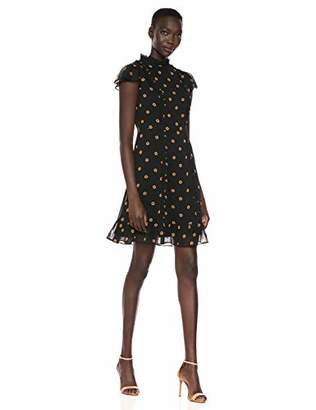 Adrianna Papell Women's Daisy Dot Ruffled A Line Dress