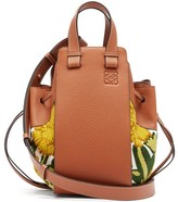 Loewe Hammock Small Floral-embroidered Leather Bag - Womens - Yellow Multi