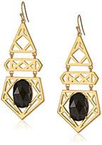 "Trina Turk Cubist House"" Gold-Plated Drama with Stone Chandelier Drop Earrings"