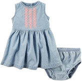 Carter's Baby Girl Embroidered Chambray Denim Dress & Bloomers Set
